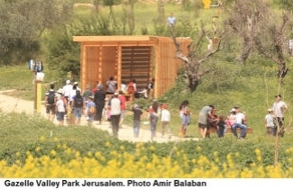 Public visiting gazelle Valley Park Jerusalem. Photo Amir Balaban
