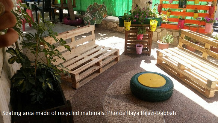 Seating area made from recycled materials. Photo Haya Hijazi Dabbah