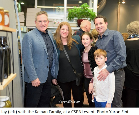 Jay(left) with Keinan Family at CSPNI event. Photo Yaron Eini